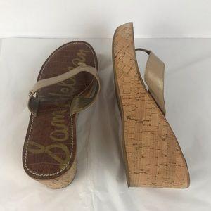 Sam Edelmon Wedge Tan Sandals SZ 10M